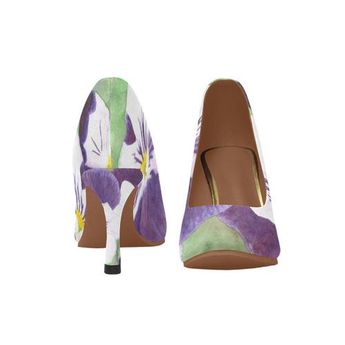 Purple and white pansies flowers Women's High Heels (Model 048)