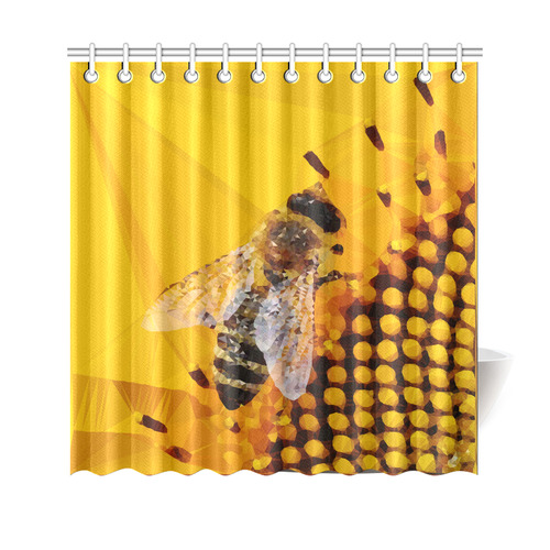 Honey Bee Sunflower Low Poly Floral Shower Curtain 69x70