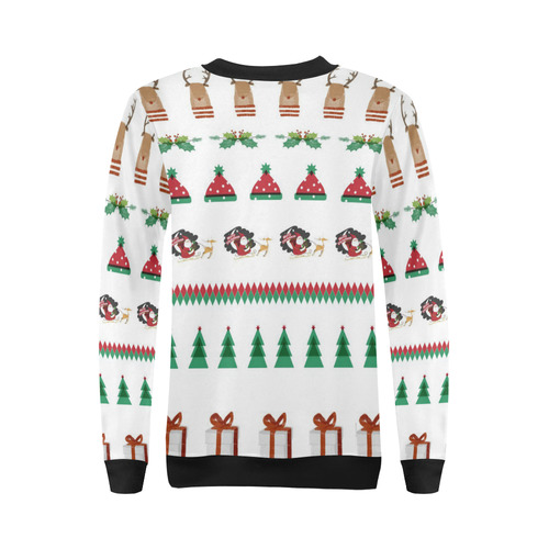 Christmas Sweatshirt Santa Red Green Tree Reindeer Presents by Tell3People All Over Print Crewneck Sweatshirt for Women (Model H18)