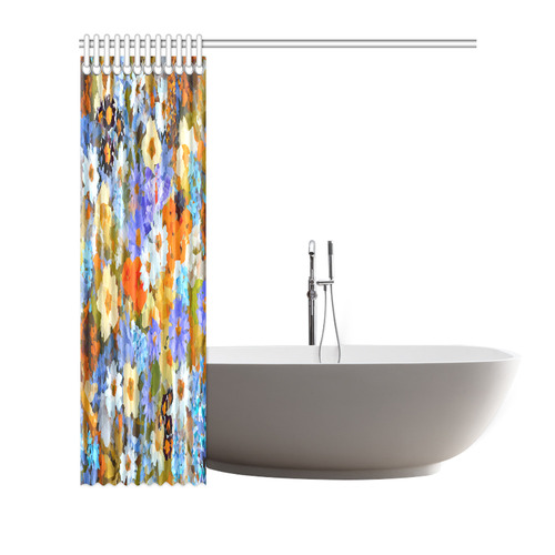 "Flower Garden Low Poly Geometric Floral Shower Curtain 72""x72"""