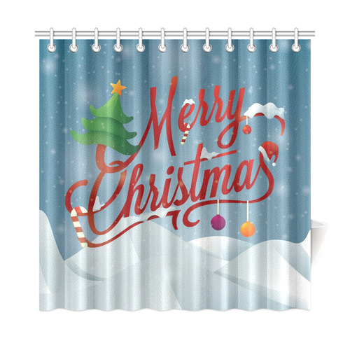 "Merry Christmas Scene Shower Curtain 72""x72"""