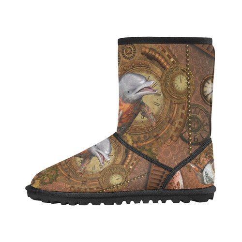 Funny steampunk dolphin, clocks and gears Custom High Top Kid's Snow Boots (Model 050)