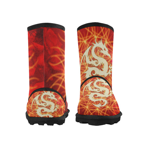 Awesome chinese dragon, gold Custom High Top Kid's Snow Boots (Model 050)