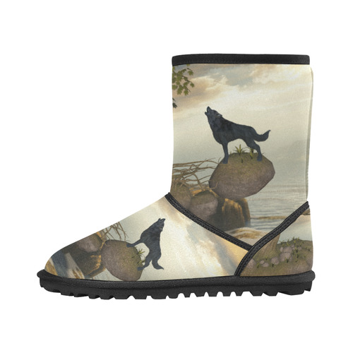 The lonely wolf on a flying rock Custom High Top Kid's Snow Boots (Model 050)