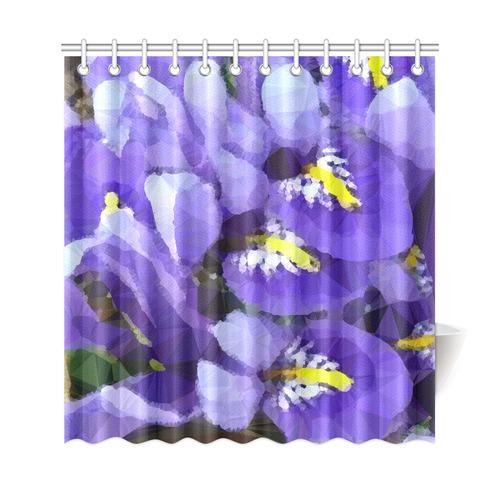 Purple Yellow Iris Floral Low Polygon Art Shower Curtain 69x72
