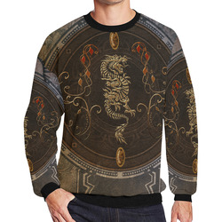 e4d5c3273 wonderful golden chinese dragon Men's Oversized Fleece Crew Sweatshirt/Large  Size(Model ...