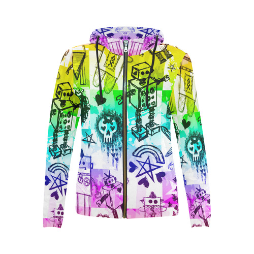 Rainbow Scene Kid Sketches All Over Print Full Zip Hoodie For Women