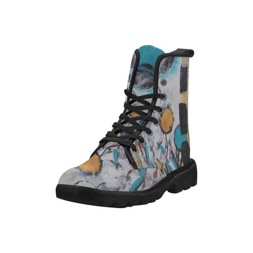 Morning Flowers Martin Boots for Women (Black) (Model 1203H)