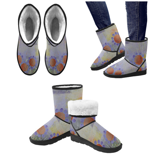 Cheery Flowers Custom High Top Unisex Snow Boots (Model 047)
