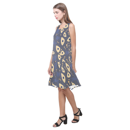 Swimming Turtles Sleeveless Splicing Shift Dress(Model D17)