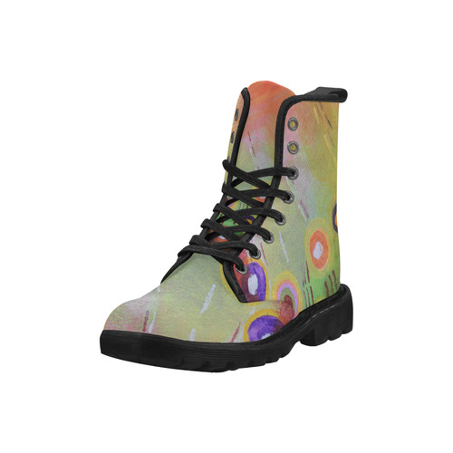 Flowers Abstract Martin Boots for Women (Black) (Model 1203H)