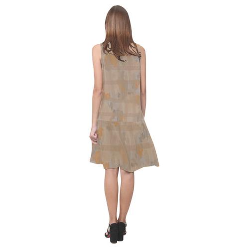 Orange Watercolor Sleeveless Splicing Shift Dress(Model D17)
