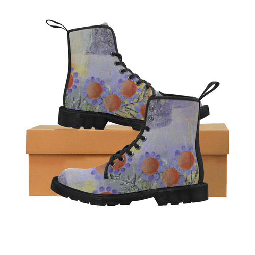 Cheery Flowers Martin Boots for Women (Black) (Model 1203H)