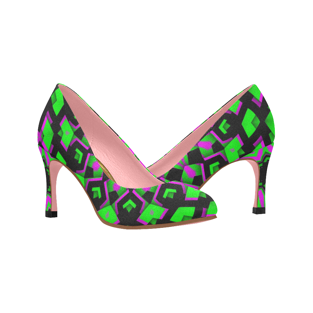 High Heel Shoes green black pink