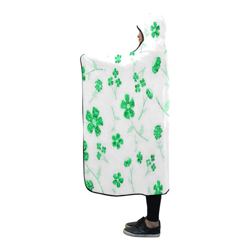 sweet shiny floral green Hooded Blanket 80''x56''