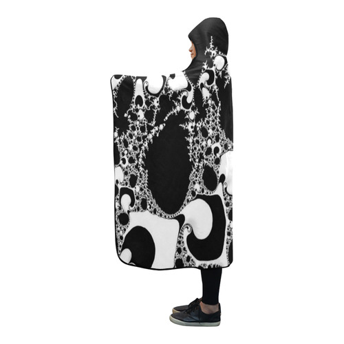 special fractal 04 B&W Hooded Blanket 80''x56''