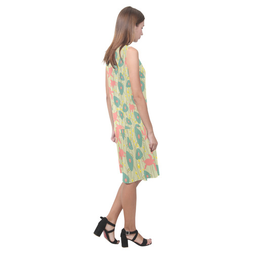 Retro Swimming Turtles Sleeveless Splicing Shift Dress(Model D17)