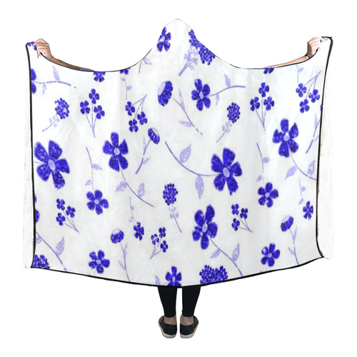 sweet shiny flora blue Hooded Blanket 80''x56''