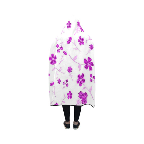 sweet shiny floral pink Hooded Blanket 50''x40''