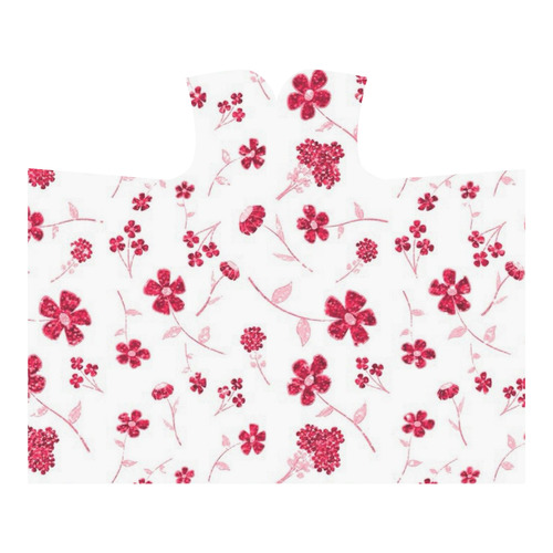 sweet shiny floral red Hooded Blanket 60''x50''