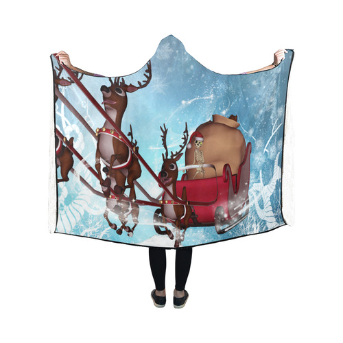 Christmas, funny skeleton with reindeer Hooded Blanket 50''x40''