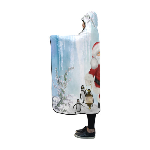 Santa Claus with penguin Hooded Blanket 60''x50''