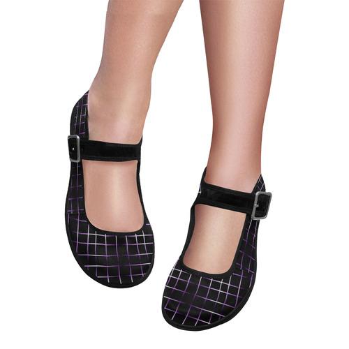 Purple Black Grid Mila Satin Women's Mary Jane Shoes (Model 4808)