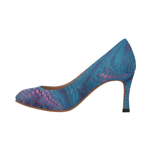 crazy midnight blue - purple snake scales animal skin design camouflage Women's High Heels (Model 048)
