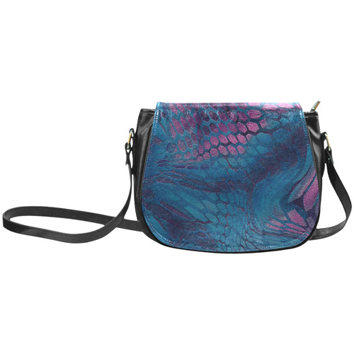 crazy midnight blue - purple snake scales animal skin design camouflage Classic Saddle Bag/Small (Model 1648)
