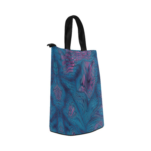 crazy midnight blue - purple snake scales animal skin design camouflage Nylon Lunch Tote Bag (Model 1670)