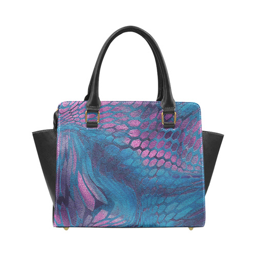 crazy midnight blue - purple snake scales animal skin design camouflage Rivet Shoulder Handbag (Model 1645)