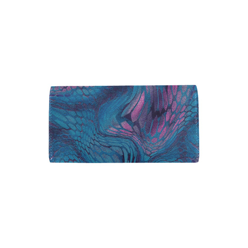crazy midnight blue - purple snake scales animal skin design camouflage Women's Trifold Wallet (Model 1675)