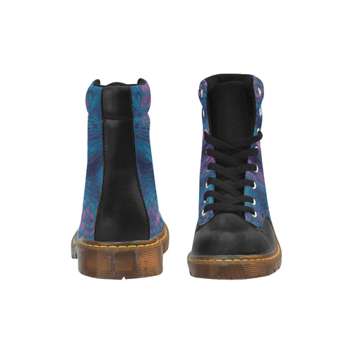 crazy midnight blue - purple snake scales animal skin design camouflage Apache Round Toe Women's Winter Boots (Model 1402)