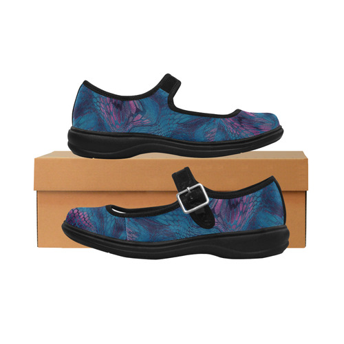 crazy midnight blue - purple snake scales animal skin design camouflage Mila Satin Women's Mary Jane Shoes (Model 4808)