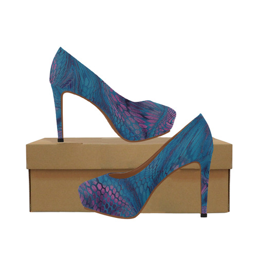 crazy midnight blue - purple snake scales animal skin design camouflage Women's High Heels (Model 044)