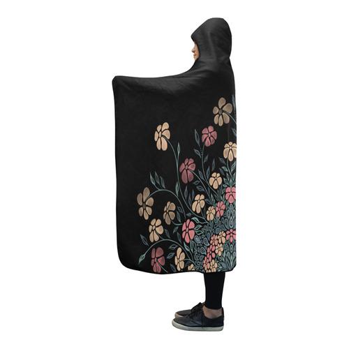 Pretty Powder Pastels Flowers Mandala Pattern Hooded Blanket 80''x56''