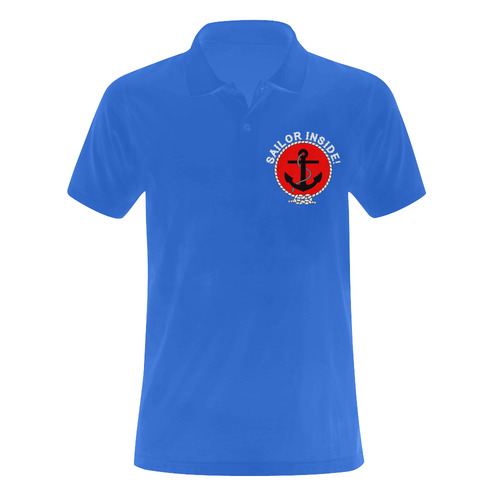Sailor Inside Badge Watersports Sailing Yachting Ship Yacht Boat Anchor boat owner Men's Polo Shirt (Model T24)
