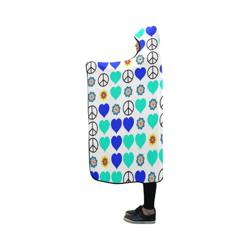 peace and love, blue Hooded Blanket 50''x40''