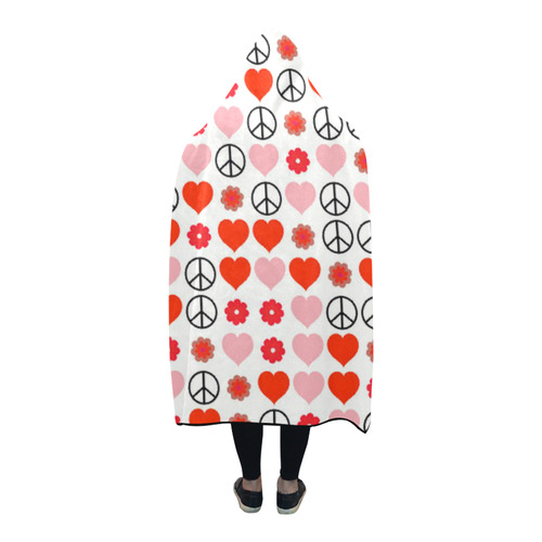 peace and love red Hooded Blanket 80''x56''
