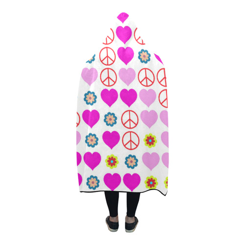 peace and love, pink Hooded Blanket 80''x56''