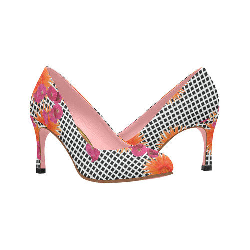 3284cf6d4494 Womens High Heel Shoes Pumps 3 inch black white check orange pink flowers  Women s High Heels (Model 048)