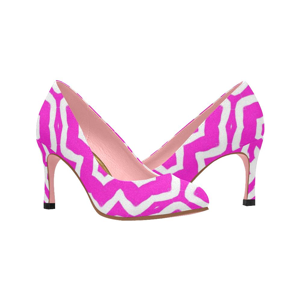 670979ee8d5860 Womens High Heel Shoes Pumps 3 inch Hot Pink White Pattern Women's High  Heels (Model 048) | ID: D2131524
