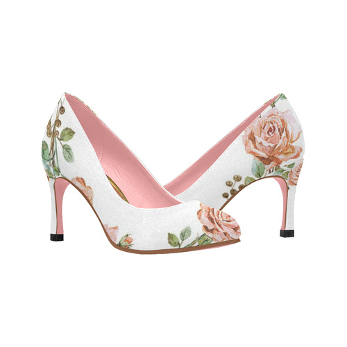 0c2c2af37fe8 Womens High Heel Shoes Pumps 3 inch Pink Roses White Wedding Women s High  Heels (Model 048)
