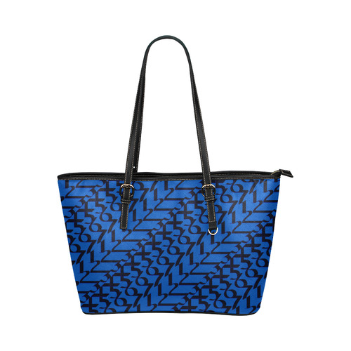 5614bfce7e0 NUMBERS Collection 1234567 Women Blueberry/Black Leather Tote Bag/Large  (Model 1651) | ID: D2133890