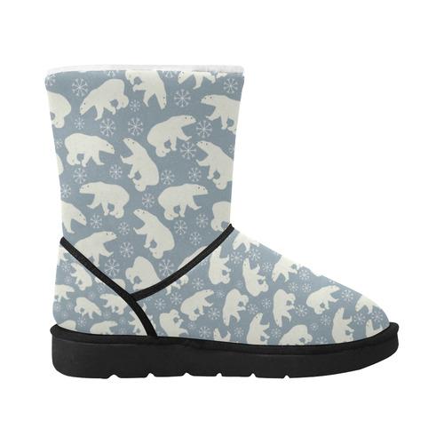 Winter Snowflakes Polar Bears Pattern Unisex Single Button Snow Boots (Model 051)
