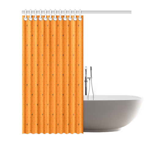 """CHOC ORANGE FLIES Shower Curtain 72""""x72"""""""