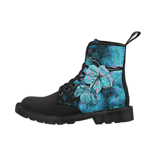 FLOWER PAINTING BLUE II Martin Boots for Women (Black) (Model 1203H)