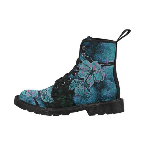 FLOWERS ART BLUE 4 WOMEN Martin Boots for Women (Black) (Model 1203H)