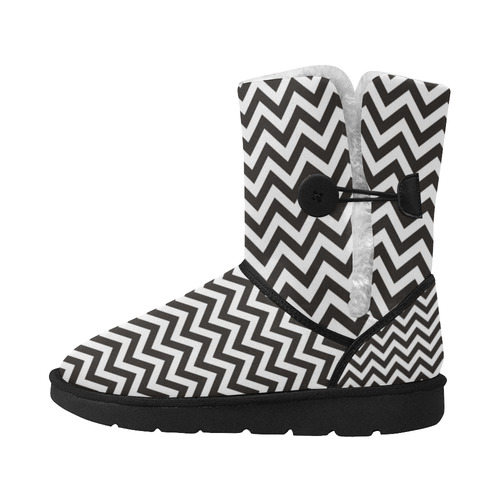 HIPSTER zigzag chevron pattern black & white Unisex Single Button Snow Boots (Model 051)