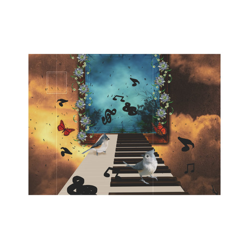 Music, birds on a piano Neoprene Water Bottle Pouch/Small